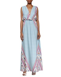 Fraiche By J Mixed Print Open Back Maxi Dress Aqua