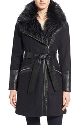 Women's Via Spiga Faux Leather And Faux Fur Trim Belted Wool Blend Coat