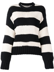 Rta Striped Crewneck Sweatshirt Black