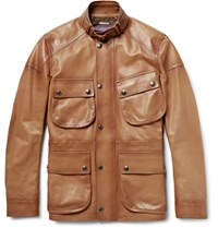 Ralph Lauren Purple Label Thornhill Burnished Leather Field Jacket Brown
