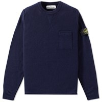 Stone Island Cashmere Pocket Crew Knit Blue