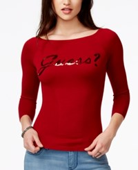 Guess Three Quarter Sleeve Sequin Graphic Top Lacquer Red
