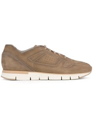 Santoni Lace Up Sneakers Men Leather Suede Rubber 9.5 Nude Neutrals