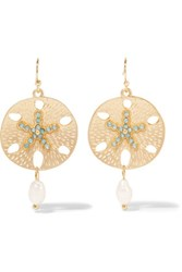 Kenneth Jay Lane Gold Plated Crystal And Faux Pearl Earrings