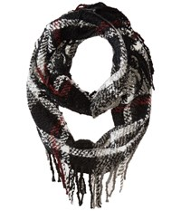 Hat Attack Fringed Loop Black Plaid Scarves