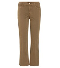 J Brand Selena Cropped Flared Jeans Brown