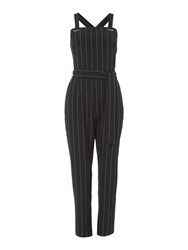 Therapy Metal Trim Pinstripe Jumpsuit Navy