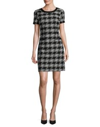 Karl Lagerfeld Houndstooth Cotton Sheath Dress Black Ivory