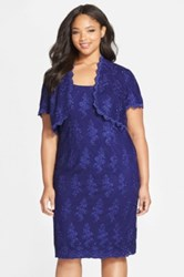 Alex Evenings Embroidered Sheath Dress With Scalloped Bolero Jacket Plus Size Purple