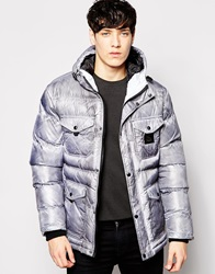 Voi Jeans Sprayed Quilted Puffer With Hood Grey