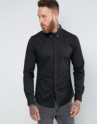 Religion Smart Shirt With Stretch And Collar Skull Black