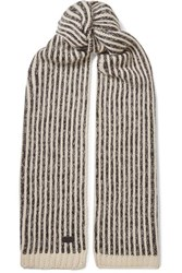 Saint Laurent Striped Knitted Scarf Ivory