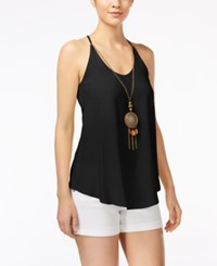 Amy Byer Bcx Juniors' Sleeveless Necklace Blouse Black