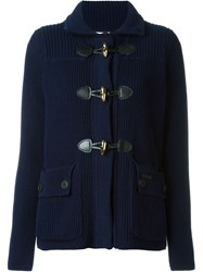 Bark Knit Short Coat Blue