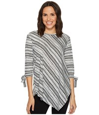 Vince Camuto Long Sleeve Tie Cuff Asymmetrical Hem Modern Track Stripe Top Light Heather Grey Women's Long Sleeve Pullover Silver
