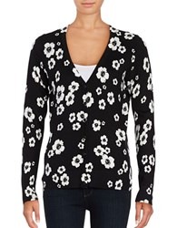 Lord And Taylor Floral Knit Cardigan Black