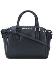 Armani Jeans Top Zip Tote Women Pvc One Size Blue