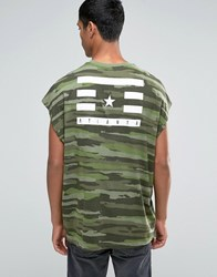 Asos Super Oversized T Shirt In Camo With Back Print Four Leaf Clover Green