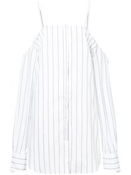 Strateas Carlucci Striped Off Shoulder Dress Cotton Elastolefin White