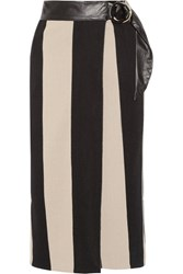 Petar Petrov Leather Trimmed Striped Cotton Burlap Wrap Midi Skirt Sand