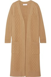 Co Cable Knit Merino Wool Cardigan Camel
