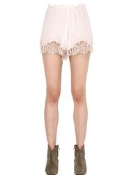 Pink Memories Silk Crepe De Chine Shorts With Lace
