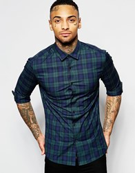 Asos Skinny Shirt In Check Design With Long Sleeves Green