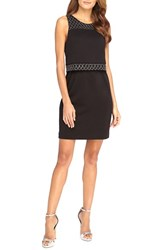 Women's Catherine Catherine Malandrino 'Goldie' Embellished Mock Two Piece Sheath Dress