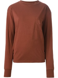 Aries Long Sleeve T Shirt With A Chest Pocket Brown