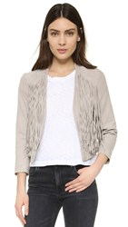 Doma Goat Suede Fringed Jacket Dove Grey