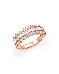 Bloomingdale's Diamond Round And Baguette Band In 14K Rose Gold 1.50 Ct. T.W. White Rose
