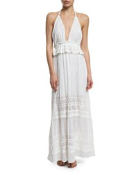 Loveshackfancy Braided Love Crocheted Maxi Halter Dress Women's Size 0 Xs White