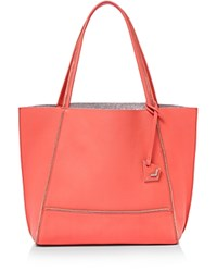 Botkier Soho Leather Tote Grapefruit Pink Silver