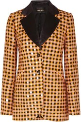 Stine Goya Net Sustain Florence Sequin Embellished Gingham Organic Hemp And Silk Blend Blazer Orange