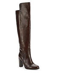 Saks Fifth Avenue Made In Italy Leather Over The Knee Boots Maroon