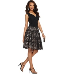 Sl Fashions Dress Sleeveless Ruched Lace A Line Black