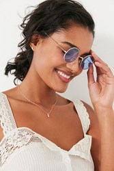 Urban Outfitters Itsy Bitsy Slim Round Sunglasses Blue