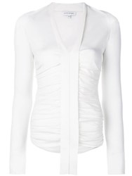 Narciso Rodriguez Ruched Long Sleeve Top White