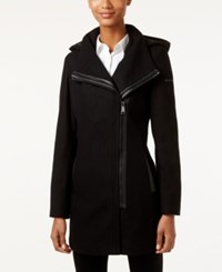 Calvin Klein Hooded Asymmetrical Faux Leather Trim Walker Coat Only At Macy's Black