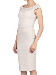 Jolie Moi Ruched 40S Wiggle Dress Beige