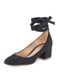 Gianvito Rossi Petra Block Heel Ankle Wrap Pump Denim