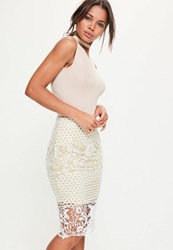 Missguided Premium White Lace Lined Midi Skirt