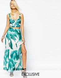 Religion Maxi Skirt With Front Splits In All Over Tropical Leaf Print White And Green