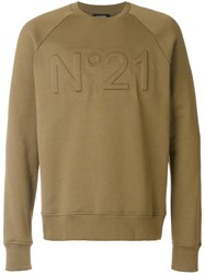 N 21 No21 Logo Embroidered Sweatshirt Men Cotton S Green