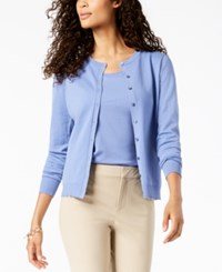 Charter Club Button Cardigan Created For Macy's Perriwinkle