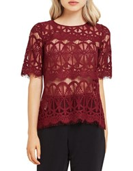 Bcbgeneration Scalloped Lace Tunic Wine Red