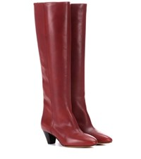 Isabel Marant Robby Leather Knee High Boots Red