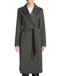 Cinzia Rocca Single Breasted Belted Wool Wrap Coat Olive
