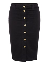 Biba Button Through Fitted Denim Skirt Black