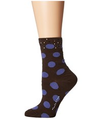 Manila Grace Polka Dot Socks Black Purple Women's Knee High Socks Shoes Multi